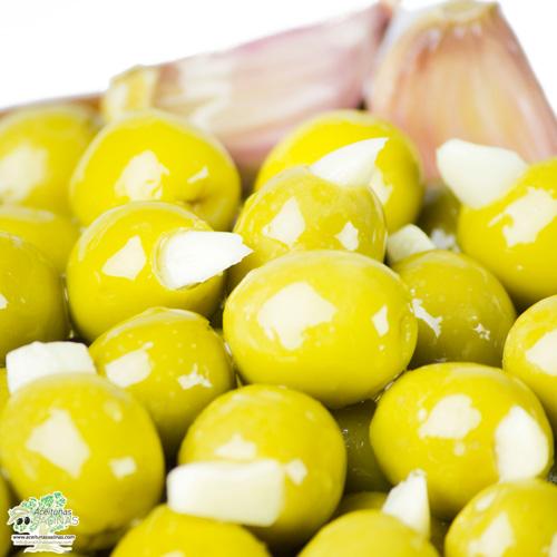 Detalle de las Aceitunas rellenas de ajo