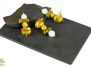 Pincho de aceitunas gourmet con lomo y queso